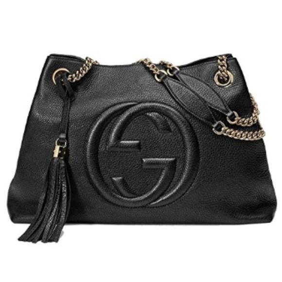 Gucci Handbags - Gucci Soho Medium Black Double Chain Tote Bag
